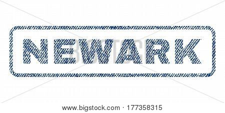 Newark text textile seal stamp watermark. Blue jeans fabric vectorized texture. Vector caption inside rounded rectangular banner. Rubber emblem with fiber textile structure.