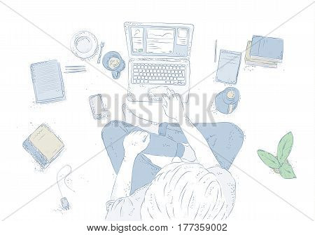 Human with laptop at home, sitting on the floor, Hand drawn contour illustration, young man top view on white background.
