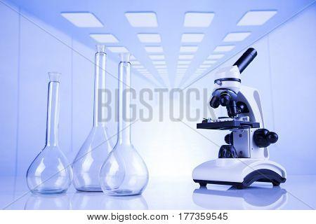 Chemistry science, Laboratory glassware background