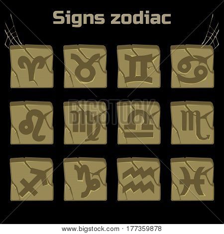 astrology Signs of the zodiac on the old stones, game elements