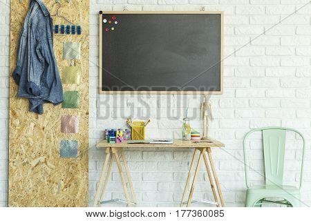 Desk, Blackboard, Chair And Osb Board
