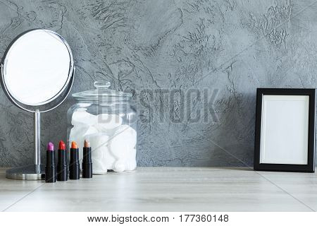 Lipsticks, Mirror, Cotton Pads And Mockup Frame