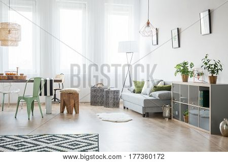 Bright Living Room With Sofa