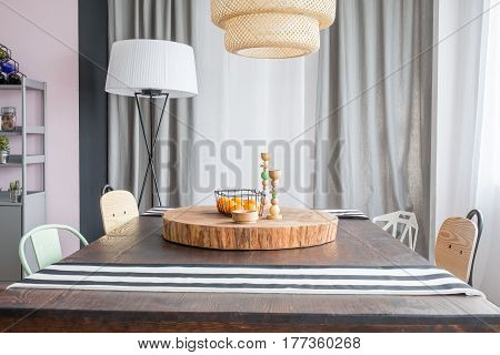 Table And Round Wood Slab