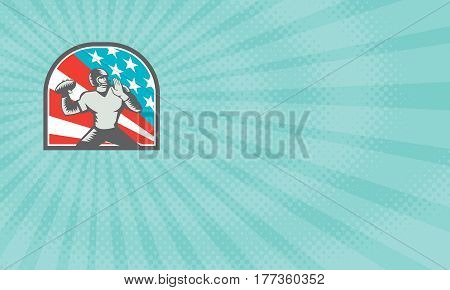Business card showing Illustration of an american football gridiron quarterback player throwing ball viewed from the side side set inside crest shield with usa stars and stripes flag in background done in retro woodcut style.