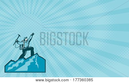Business card showing Illustration of mountain climber climbing reaching the summit celebrating holding ice axe done in retro woodcut style.