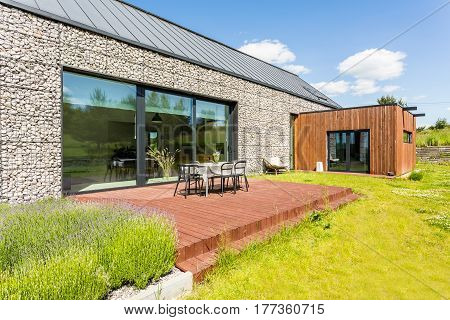 Modern House With Stone Elevation