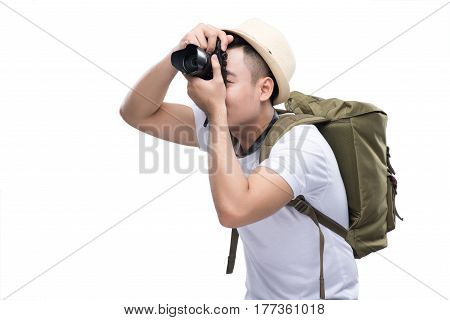 Young Handsome Traveller Is Taking A Picture.