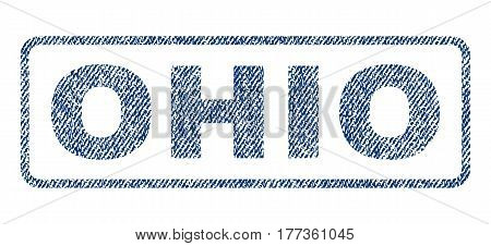 Ohio text textile seal stamp watermark. Blue jeans fabric vectorized texture. Vector caption inside rounded rectangular banner. Rubber sign with fiber textile structure.