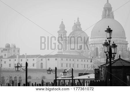 Santa Maria Salute in Venice in Winter in blackandwhite