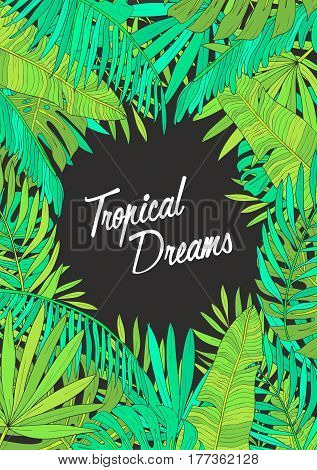 Summer background with tropical leaves, monstera, chamaedorea, banana and other palms, Template for placard, poster, event invitation with place for text.