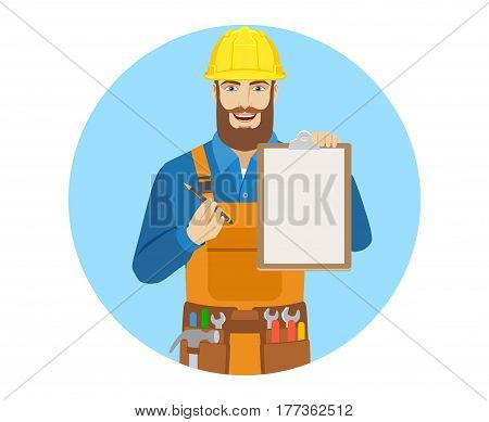Worker giving pen for your signature on clipboard. Portrait of worker in a flat style. Vector illustration.