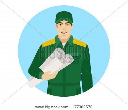 Man in uniform holding the project plans. Portrait of Delivery man or Worker in a flat style. Vector illustration.