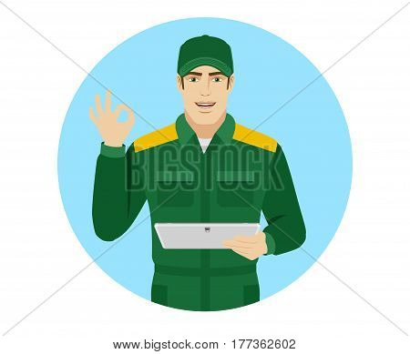 Man in uniform showing a okay hand sign and holding digital tablet PC. Portrait of Delivery man or Worker in a flat style. Vector illustration.