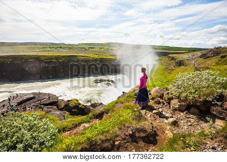 Gullfoss waterfall in Iceland, beautiful view of the waterfall