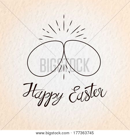 Easter eggs. Two eggs cracking each other. Happy Easter card with lettering. Vector illustration in eps10 format