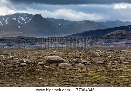 View at one of Laki caldera in mountains of Iceland