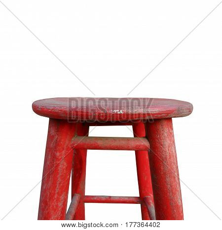 Close up red wooden chair with space for put something display