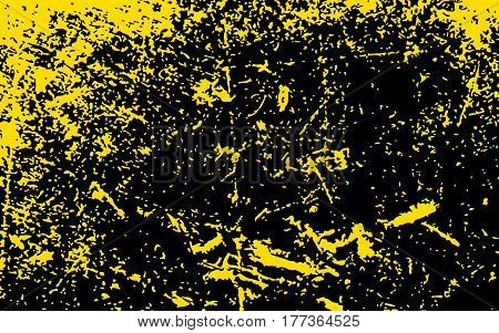 Paint Yellow Color Smeared. Gold Splashes. Black Background. Grunge Texture. Vector Illustration