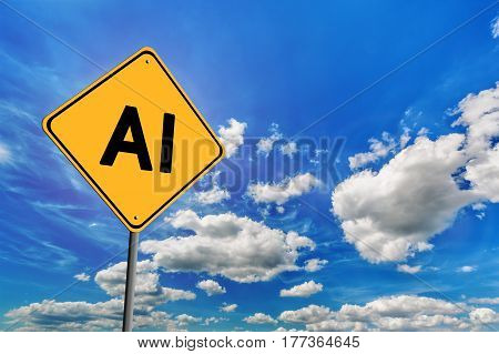 Background of blue sky with cumulus clouds and yellow road sign with text AI