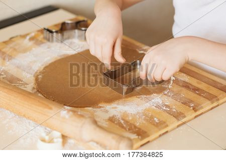 Master Class For Children On Baking Christmas Cookies. Young Children Learn To Cook A Honey-cake. Ki