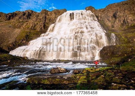 Big Dynjandi waterfall in Iceland, beautiful view