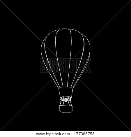 Hot air balloon. Isolated on black background. Sketch illustration.
