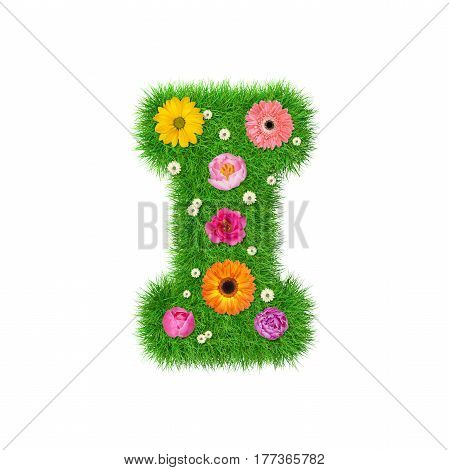 Letter NI made of grass and colorful flowers spring concept for graphic design collage.