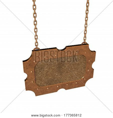 Blank cork signboard with metallic border hanging on chain. Isolated on white background.3D rendering illustration.