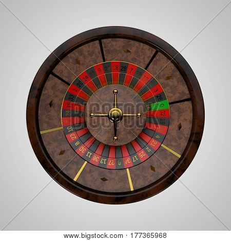 Casino roulette wheel. Isolated on white background. 3D rendering illustration.Top view.