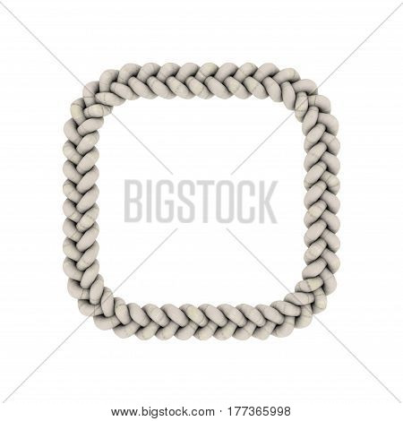 Braided frame in form of square. Isolated on white background. 3D rendering illustration.