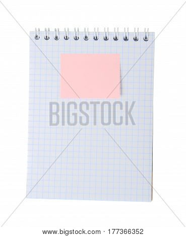 Sticky note on note pad isolated on white