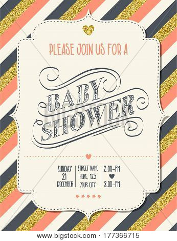 Beautiful Retro Baby Shower Card Template With Golden Glittering Details
