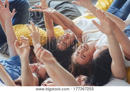 Group Beautiful Young People Doing Selfie Lying On The Floor, Best Friends Girls And Boys Together H