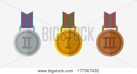 Vector trophy champion medal flat icon winner gold award and victory prize sport success best win golden leadership competition illustration. Celebration shiny ceremony metal sign.
