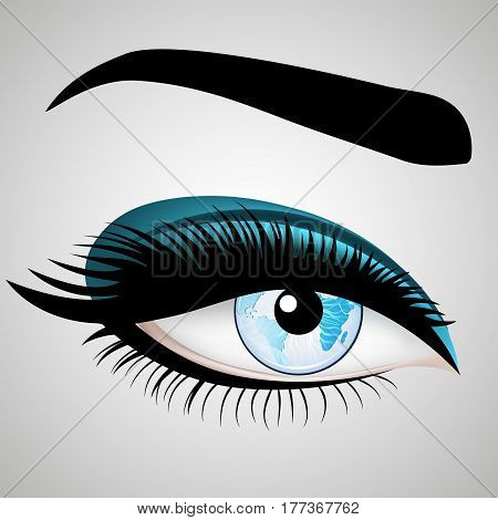 Vector Woman's eyes with Planet Earth for your design