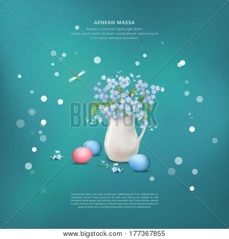 Happy Easter card with vector still life. Eggs and spring flowers bouquet in ceramic jug