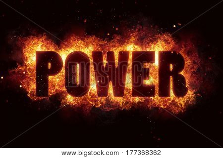power energy text on fire flames explosion burning explode