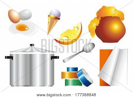 gradient set of objects and food for the kitchen