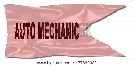 A silk flag with the legend AUTO MECHANIC