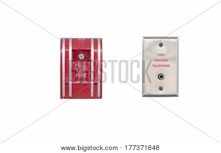fire alarm and fire fighters telephone isolated on white background