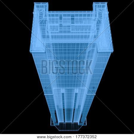 X Ray Building Isolated On Black