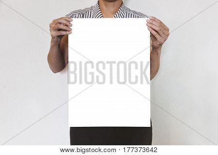 Hand holding Blank Mock up Poster Print Media background