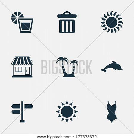 Vector Illustration Set Of Simple Seaside Icons. Elements Sun, Sunlight, Garbage And Other Synonyms Junction, Beverage And Garbage.