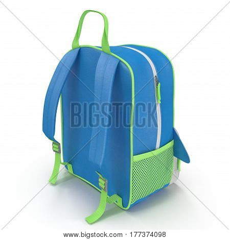 child's backpack isolated on a white background. Rear view. 3D illustration