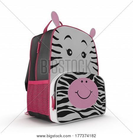 Little Kid Backpack Zebra on a white background. 3D illustration