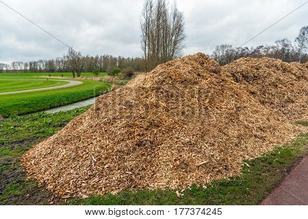 Large heaps of wood chips after pruning of trees and shrubs at the end of the winter season