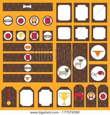 Printable tribal set of vintage dog party elements. Templates, labels, icons and wraps