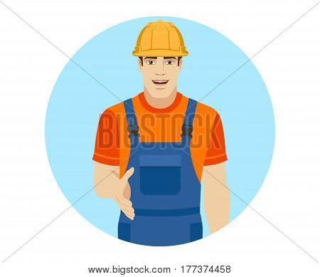 Builder gives a hand for a handshake. Portrait of builder in a flat style. Vector illustration.