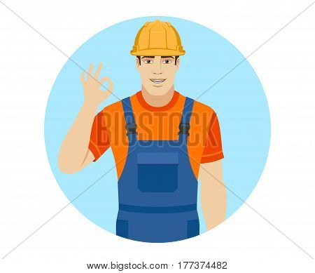 Builder show a okay hand sign. Portrait of builder in a flat style. Vector illustration.